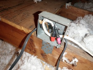 Junction box missing its cover.